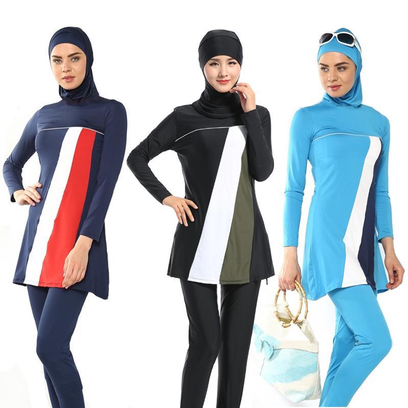 Traje de baño árabe islámica Mujeres de cobertura total Beach musulmana 3 piezas traje de Hijab traje de baño modesto Nado Surf Sport Wear Burkinis