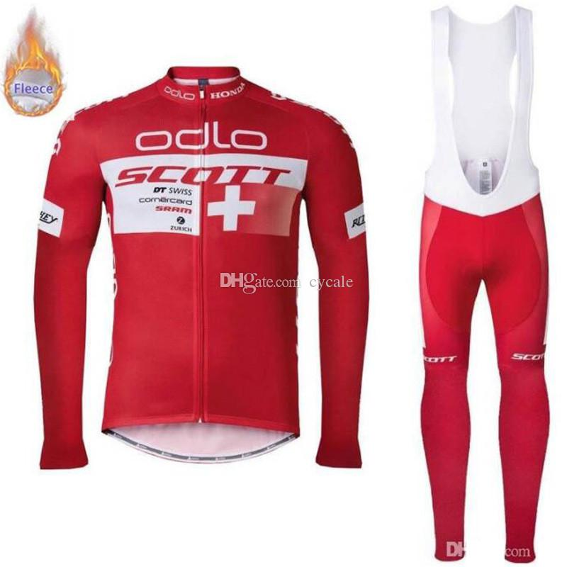 Winter Team SCOTT PRO men long sleeve Cycling Jersey Bib Pants Sets Ropa Ciclismo MTB Thermal Fleece bike clothes Wear Clothing