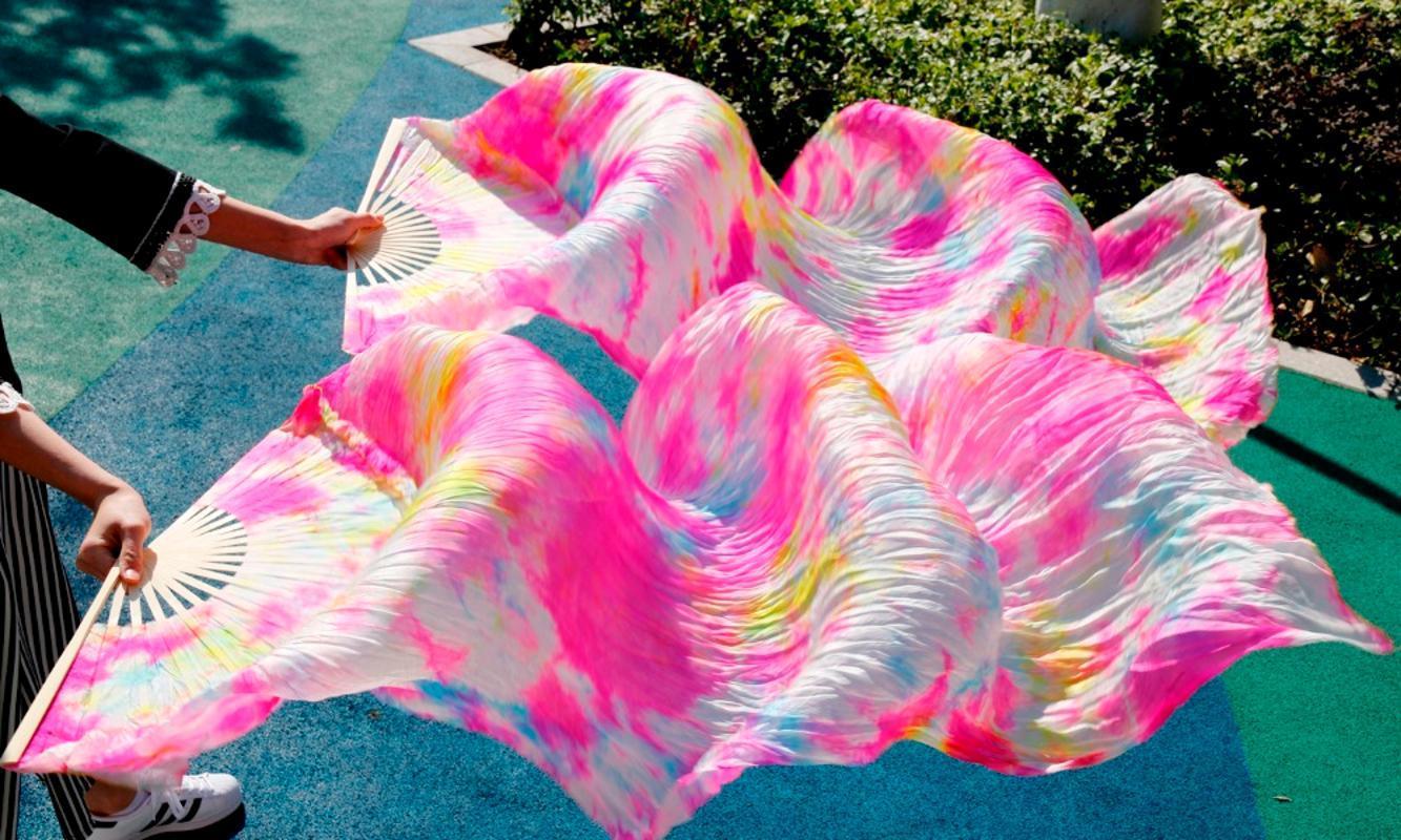 """wholesale 1pc right fans+1 pc left fans 5 size*0.9m(XX""""*35"""") hand painted belly dance silk fan veil,"""