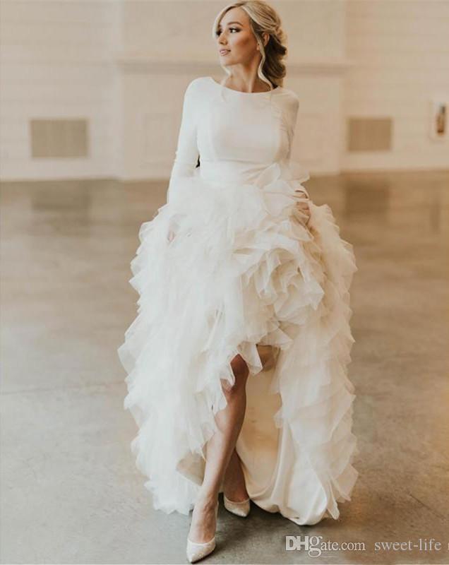 Vintage Tulle increspa A Linea Boemia Abiti da sposa sexy Backless maniche lunghe Boho vestito da sposa abiti de mariée