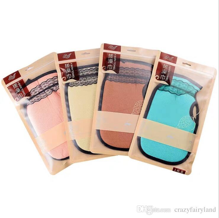 Exfoliating Bath Gloves Scrub Bath Brush Shower Spa Washcloth Sponge Soap Body Cleaning Exfoliator Rubbing Towel Lace Gloves For Adults Gift