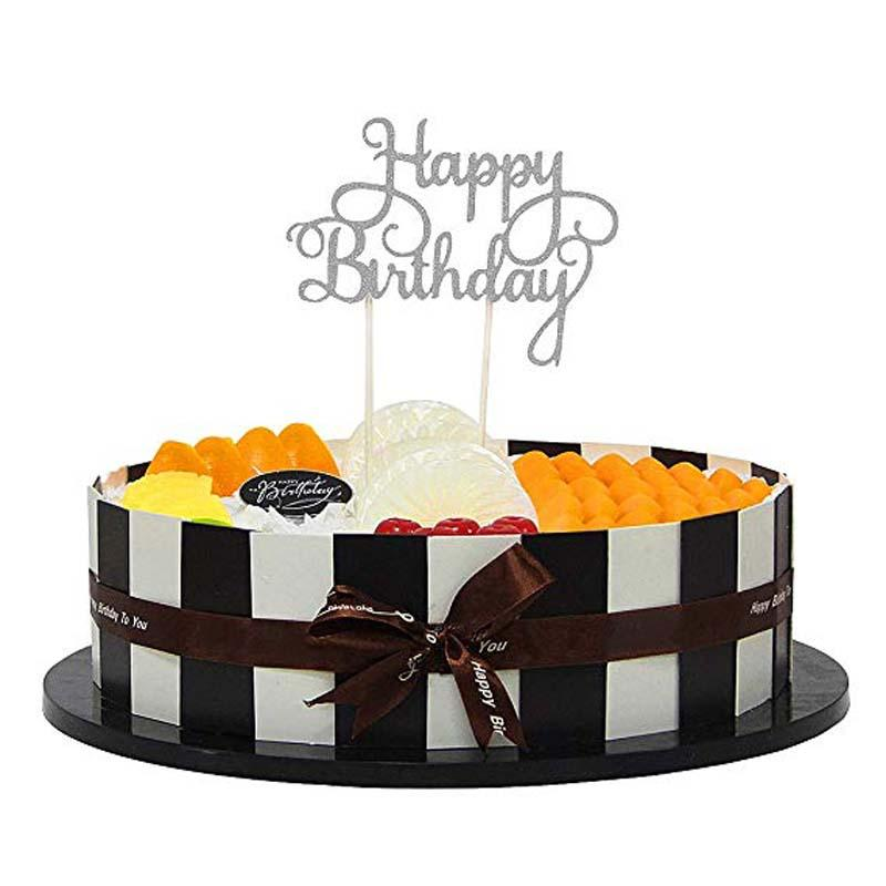 Tremendous Gold Silver Paper Glitter Happy Birthday Cake Topper For Baby Kids Personalised Birthday Cards Veneteletsinfo