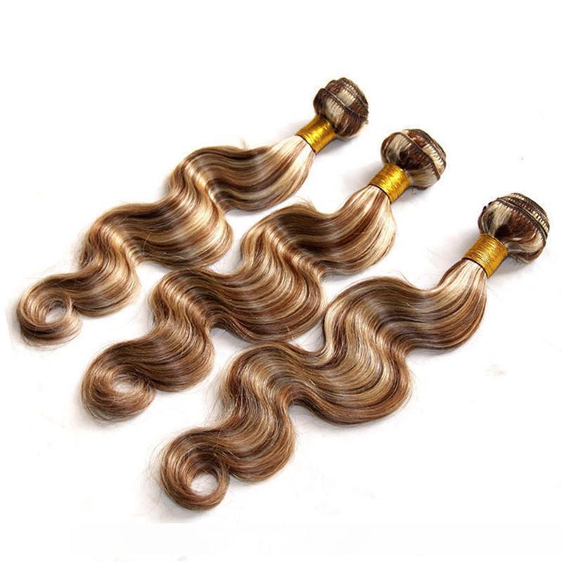 A # 8 613 Piano Colore Virgin brasiliano dei capelli umani tessuto bundle Body Wave 3pcs Piano Brown e bionda colore misto umani trame dei capelli 10 -3