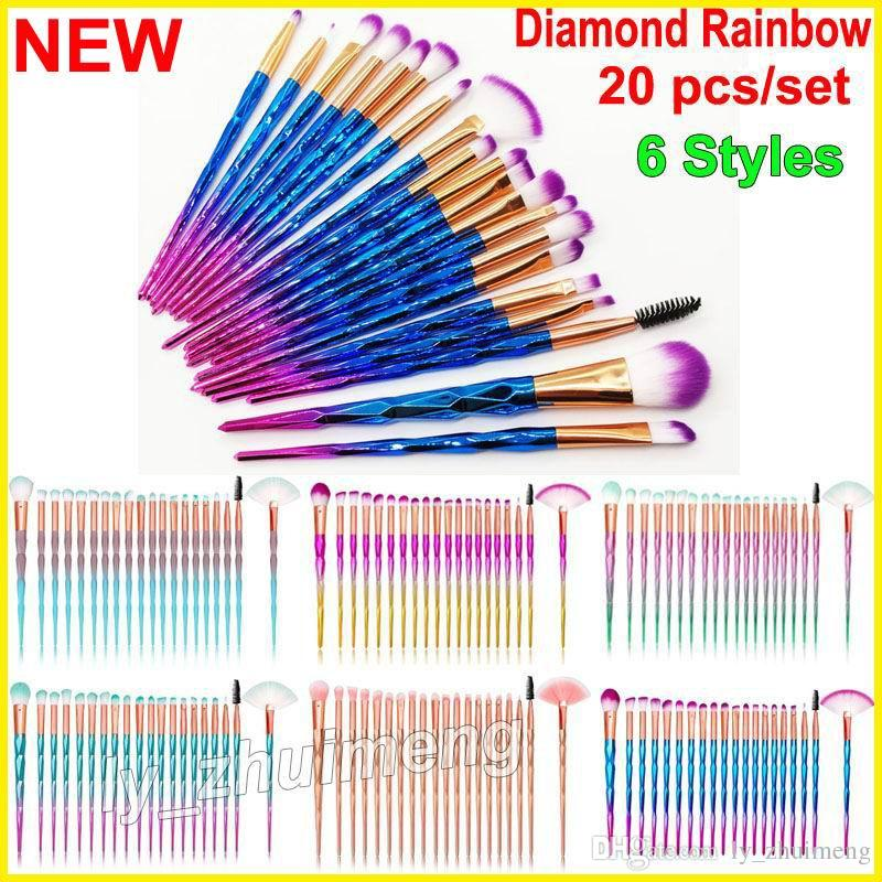 20pcs/set Diamond Makeup Brushes Set Eyeshadow Eyelash Lip brush Face Blender Brushes Powder Concealer Brow Makeup Brush Kit Tools