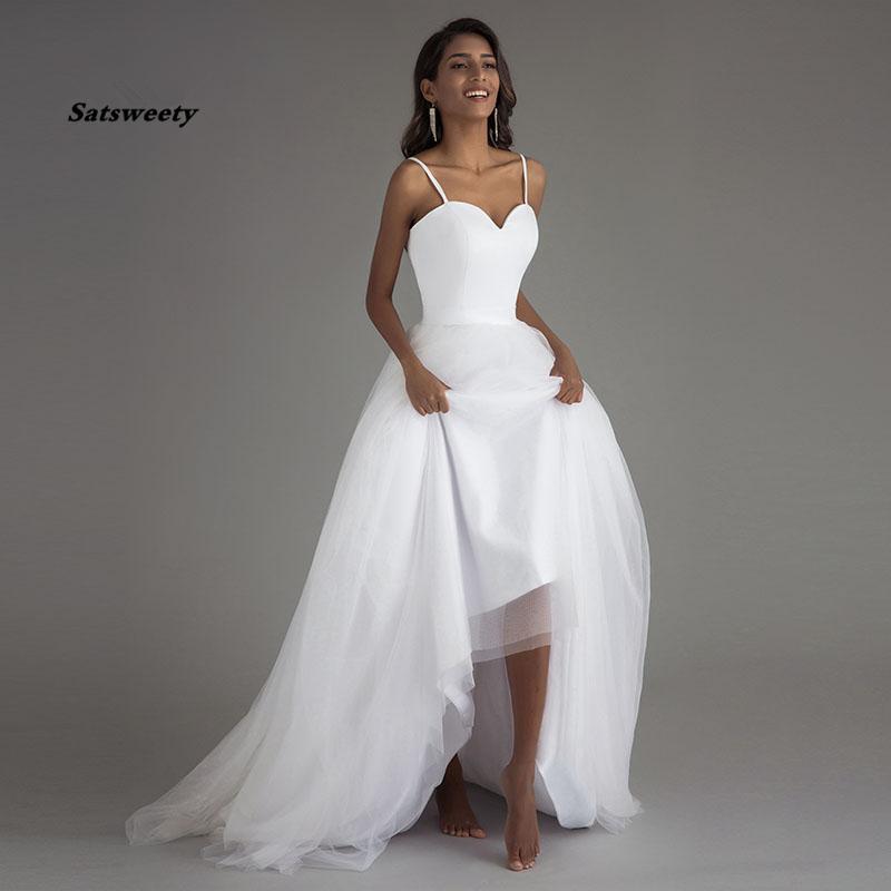 Spaghetti Strap Bridal Gown Beach Wedding Dresses Vestido Noiva Praia White Tulle with Sashes Boho A-line Bride