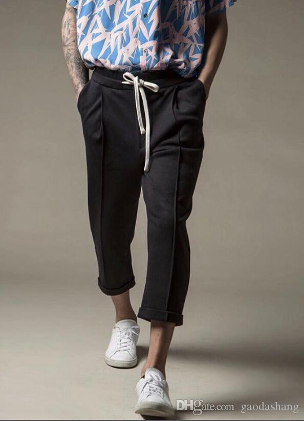 2019ss pop мужская мода классические укороченные брюки спортивные брюки Мужские досуг потянув молния укороченные брюки черный верблюд темно-зеленый M-XXL