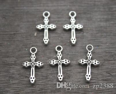 100pcs/lot Antique Silver Small Cross Charms Pendants Metal For Bracelets Necklace Earrings Bead Handmade Jewelry Findings DIY 21X11mm