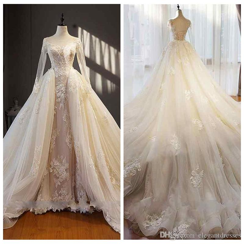 2021 Sheer Long Sleeves Lace Appliques Wedding Dresse Sexy Open Back Lace-up Elegant Bridal Dresses Fashion Wedding Gowns