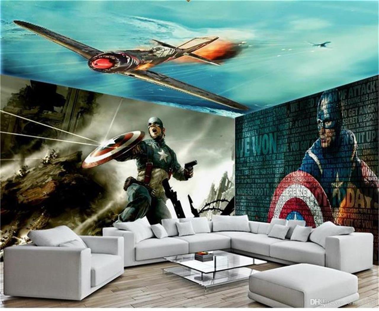 Personnalisé taille 3d photo papier peint enfants peinture murale Captain America espace photo image peinture TV fond mur papier peint non-tissé mur autocollant