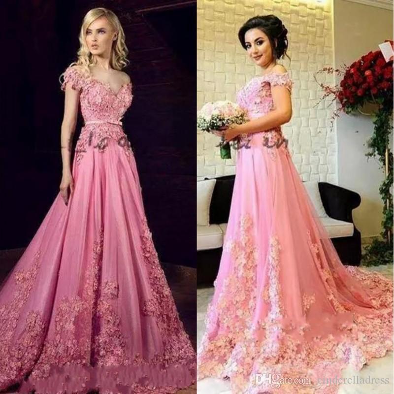 Tony chaaya 2019 moderne abendkleider 3d floral applique schulterfrei dubai arabisch kaftan in voller länge prinzessin rosa nach maß prom dress