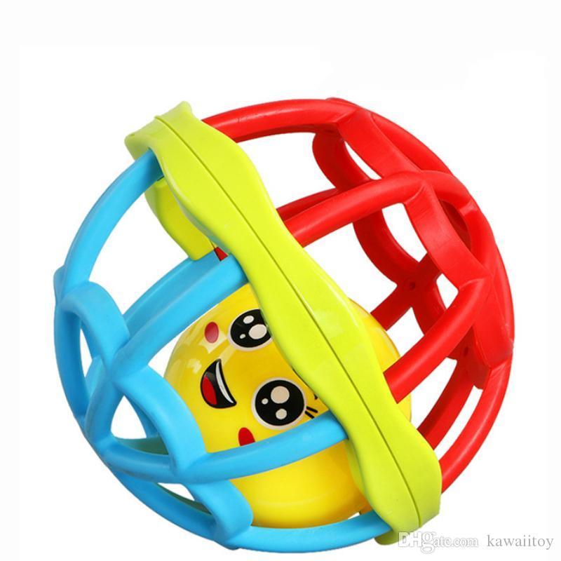 Kawaii bunte pädagogischer weicher Gummihandgriff Ball Babykrippe Handy Glocke Spielzeug 0-12 Monate neugeborenes Spielzeug