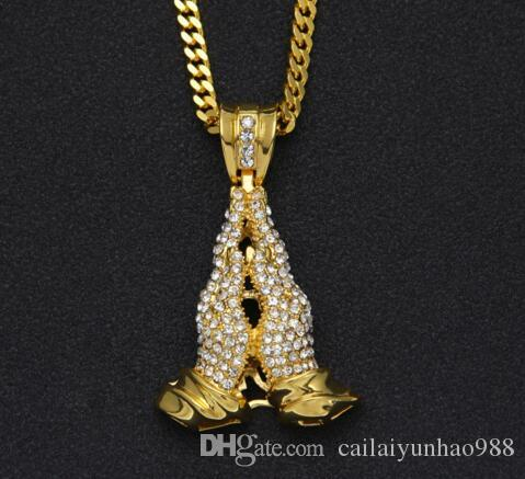 Men's Hip Hop New Necklace Exaggerated Diamond Prayer Hand Pendant HipHopPrayingHandPendant