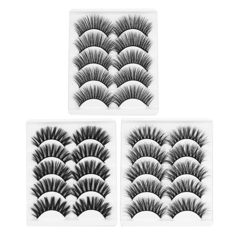 Naturel long 10/20 paires 6D Faux cils naturels Extension souple réutilisable Épaississement Faux Cils