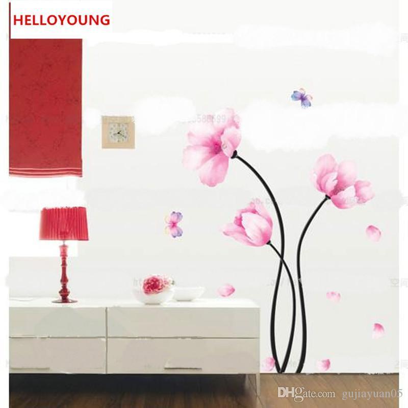 DIY Aquarelle Fleur Stickers Muraux Salon TV Fond Home Decor Réfrigérateur Stickers Papier Peint Décoration