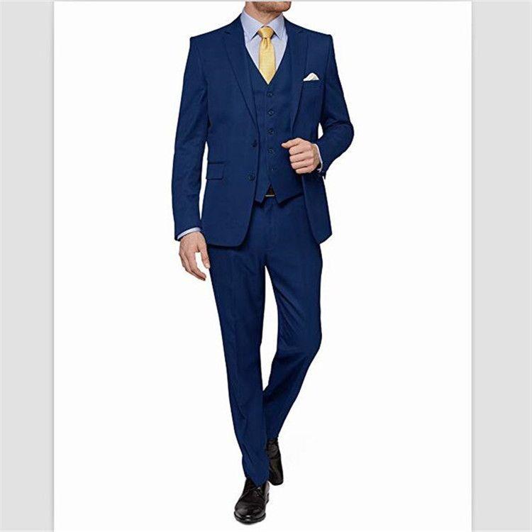 Acquista Set Da Uomo Classico In Raso 3 Pezzi Abito A Due Bottoni Formale Da Cerimonia Blazer Da Uomo Set Piatto Anteriore Pantaloni Giacca +