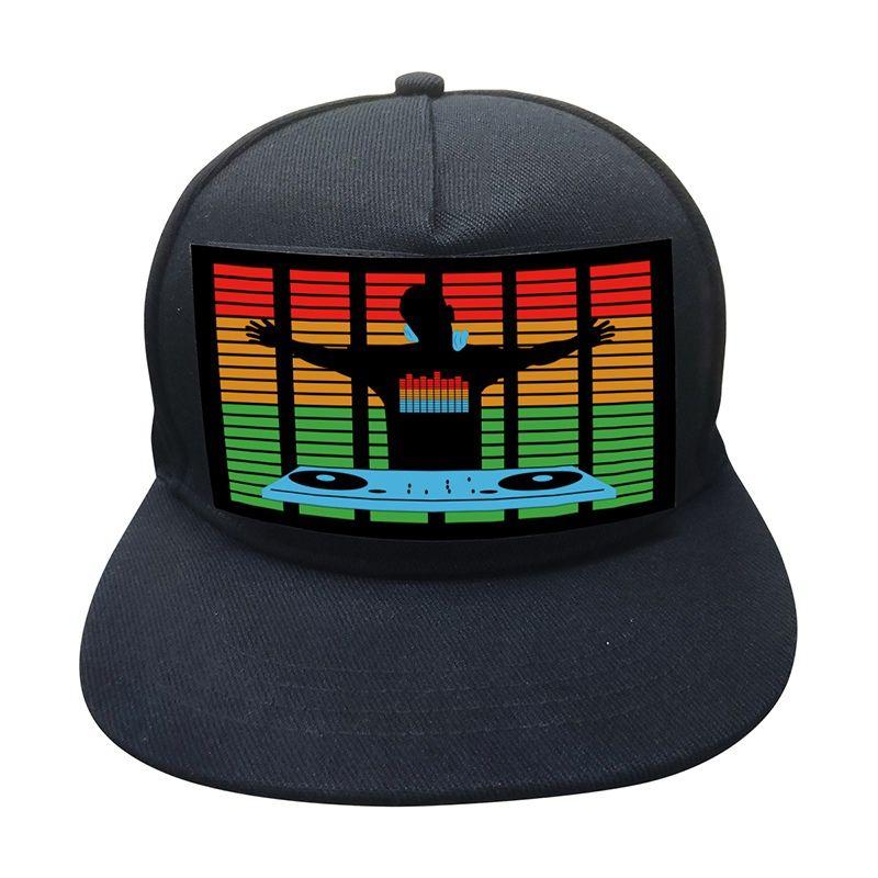 Light Up som ativado Tela Baseball Cap DJ LED piscando Chapéu Com destacável Chapéus Feme