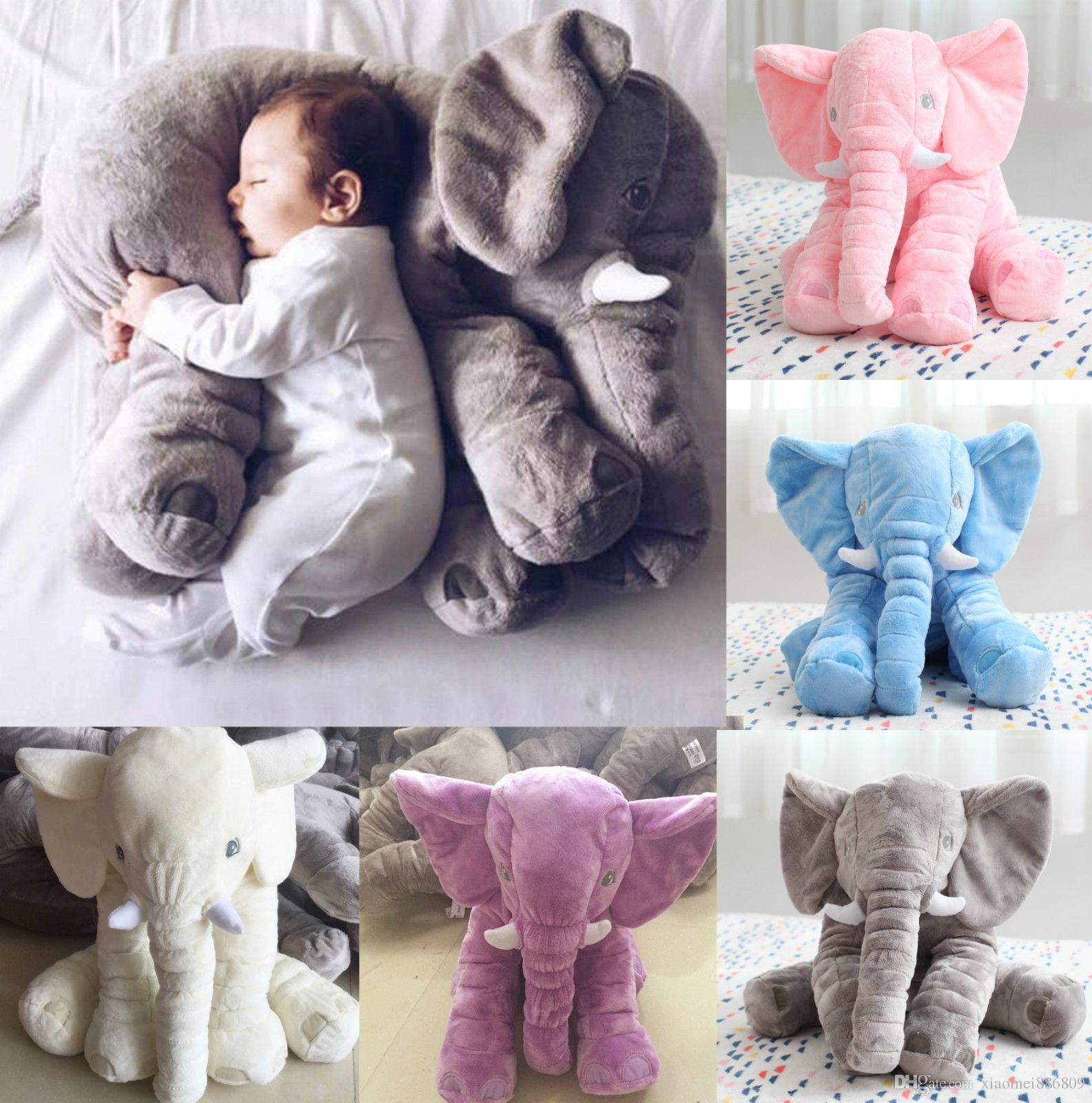 Милый ребенок ребенок мягкий слон подушка плюшевые игрушки фаршированные поясничные подушки длинный нос спать слона кукла
