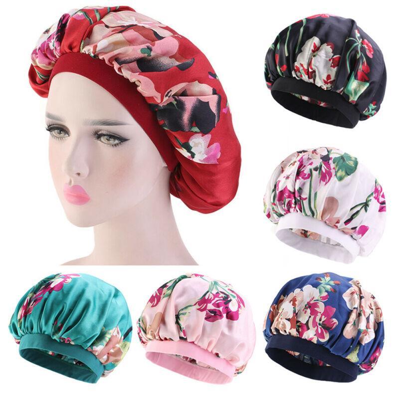Satin Night Sleep Cap Women Fizzy Hair Care Bonnet Sleeping Hat Head Cover Wrap