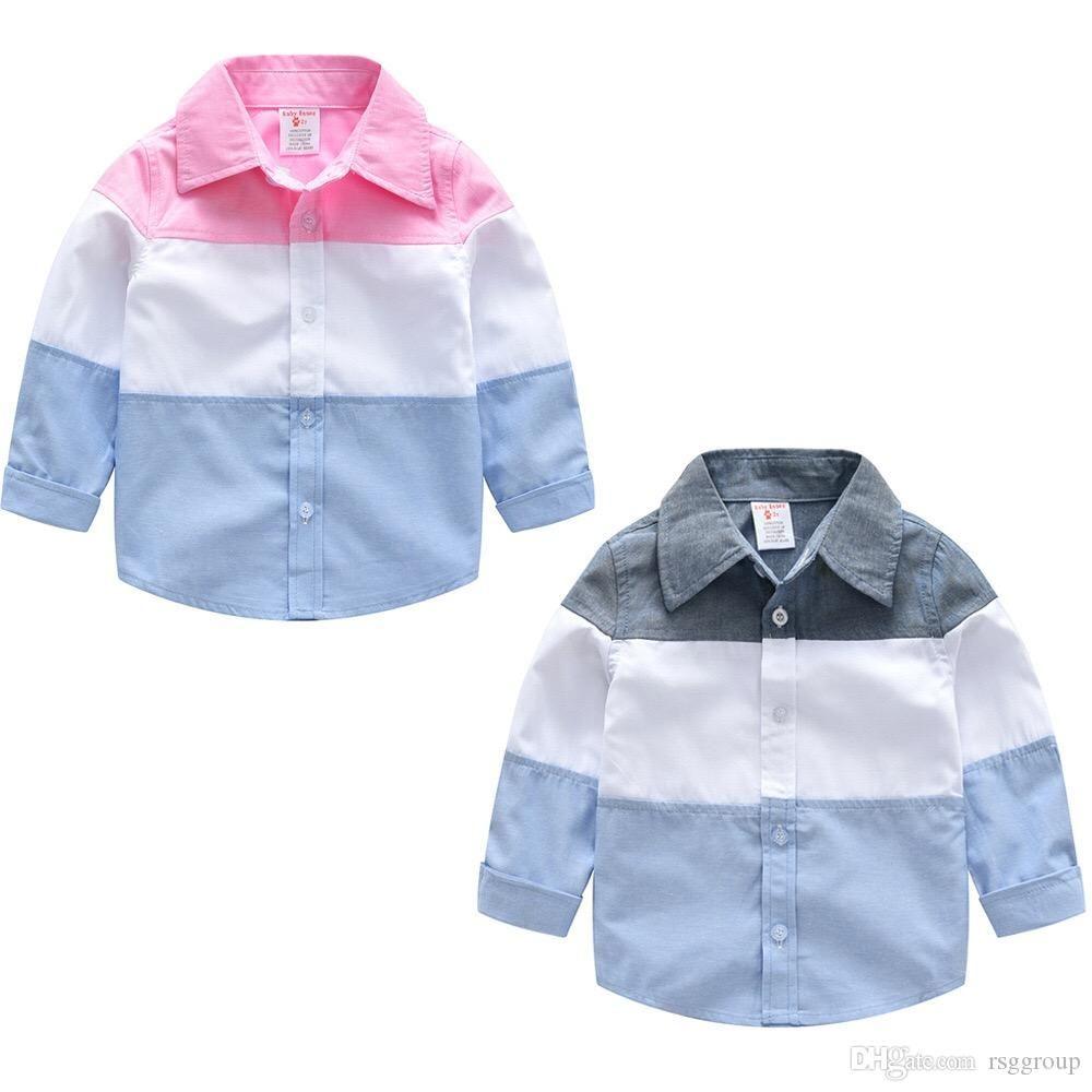 Elegante INS Toddler Bambini Ragazzi Camicie Gentleman Patchwork Manica lunga Tatting Polo in cotone Magliette Primavera Autunno Bambini Ragazzi Abbigliamento casual