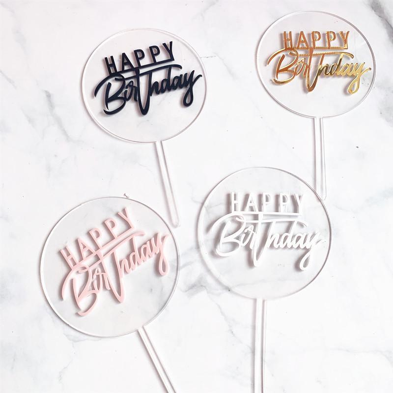 Новый С Днем Рождения Акриловая торт Топпер Gold Circle двухслойный кекс топпера Birthday Party Cake украшения Baby Shower