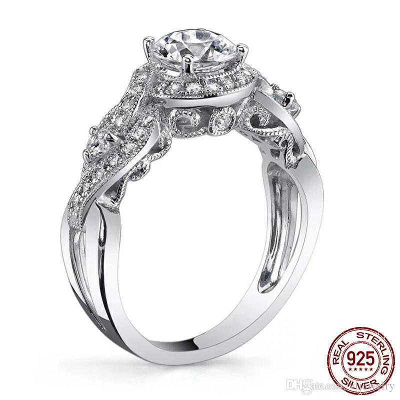 Fashion Jewelry Real 925 Sterling Silver Round Cut Cubic Zirconia Party Women Wedding Flower Band Ring Gift LR083