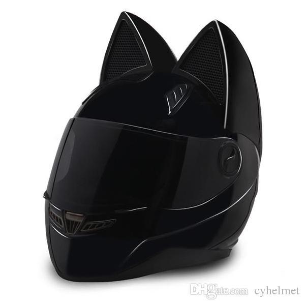 NTS-003 NITRINOS العلامة التجارية دراجة نارية خوذة وجه كامل مع آذان القط شخصية القط خوذة دراجة نارية خوذة أزياء حجم M / L / XL / XXL