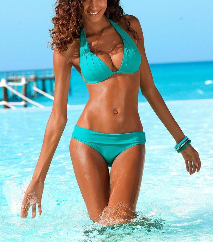 Women's Swimwear Push Up Bikini 2021 Two Piece Swimsuit Women High Waist Set Plus Size Beach Bathing Suits Bikinis 2XL Q036