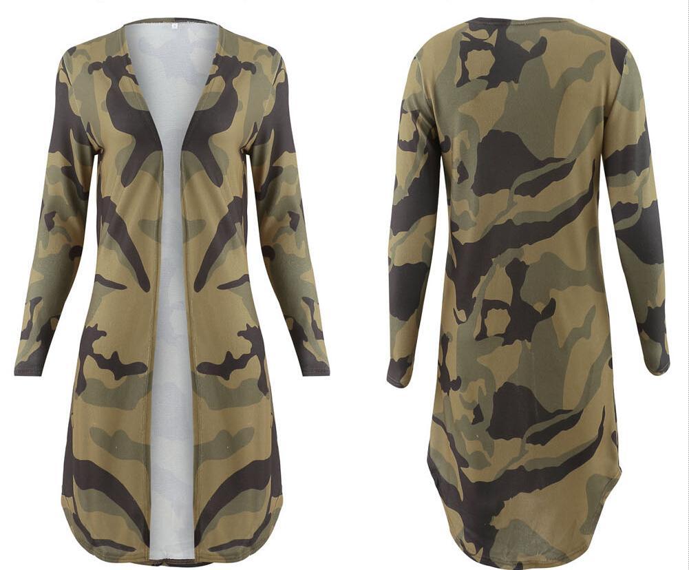 Spring Autumn Camo Leopard Cardigan Open Front Long Sleeve Long Maxi Jacket Kimono Womens Ladies Clothing