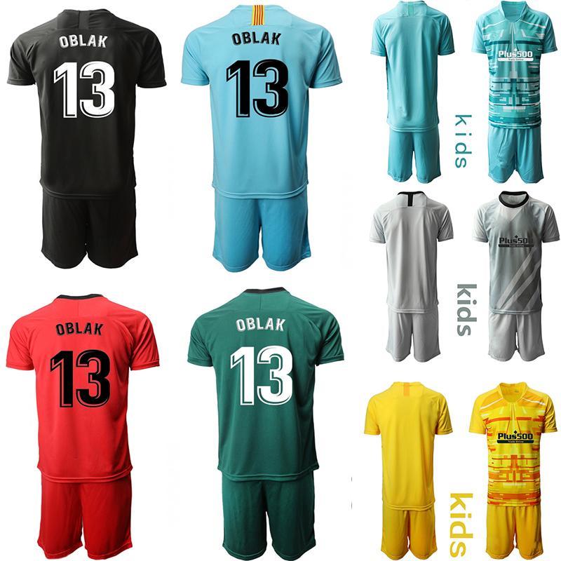 Crianças Goleiro Futebol 19 20 De Madrid # 13 conjuntos KIT OBLAK Futebol Infantil uniforme personalizado costume crianças Football Jerseys
