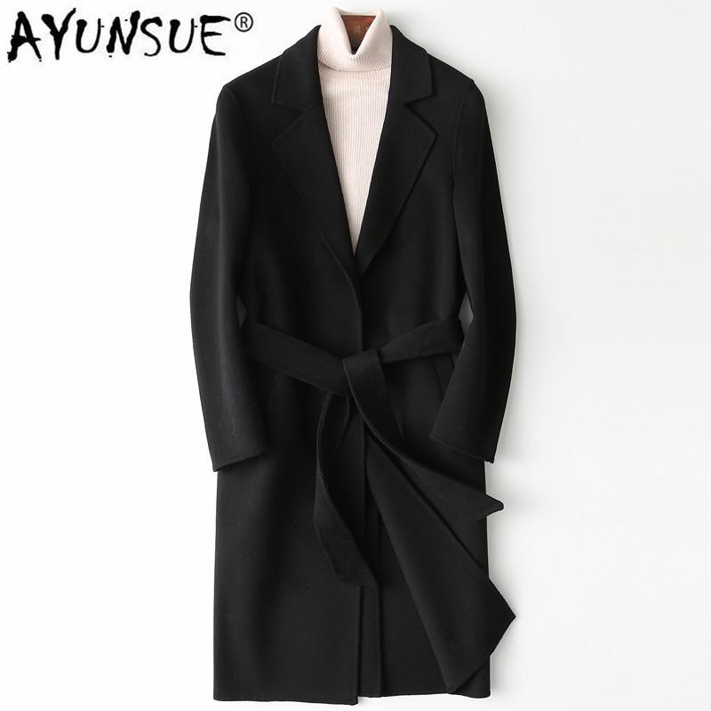 AYUNSUE Herren Woll Mantel 2020 Frühling und Herbst Wolljacke Mode lange Mantel-Männer der koreanischen Herren Mäntel und Jacken YFN8809 KJ4562