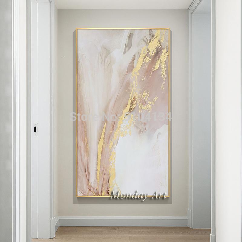 2020Fashion Résumé d'or peint à la main peinture à l'huile Poster toile Peinture Photo Salon Accueil nordiques Stickers décoratifs