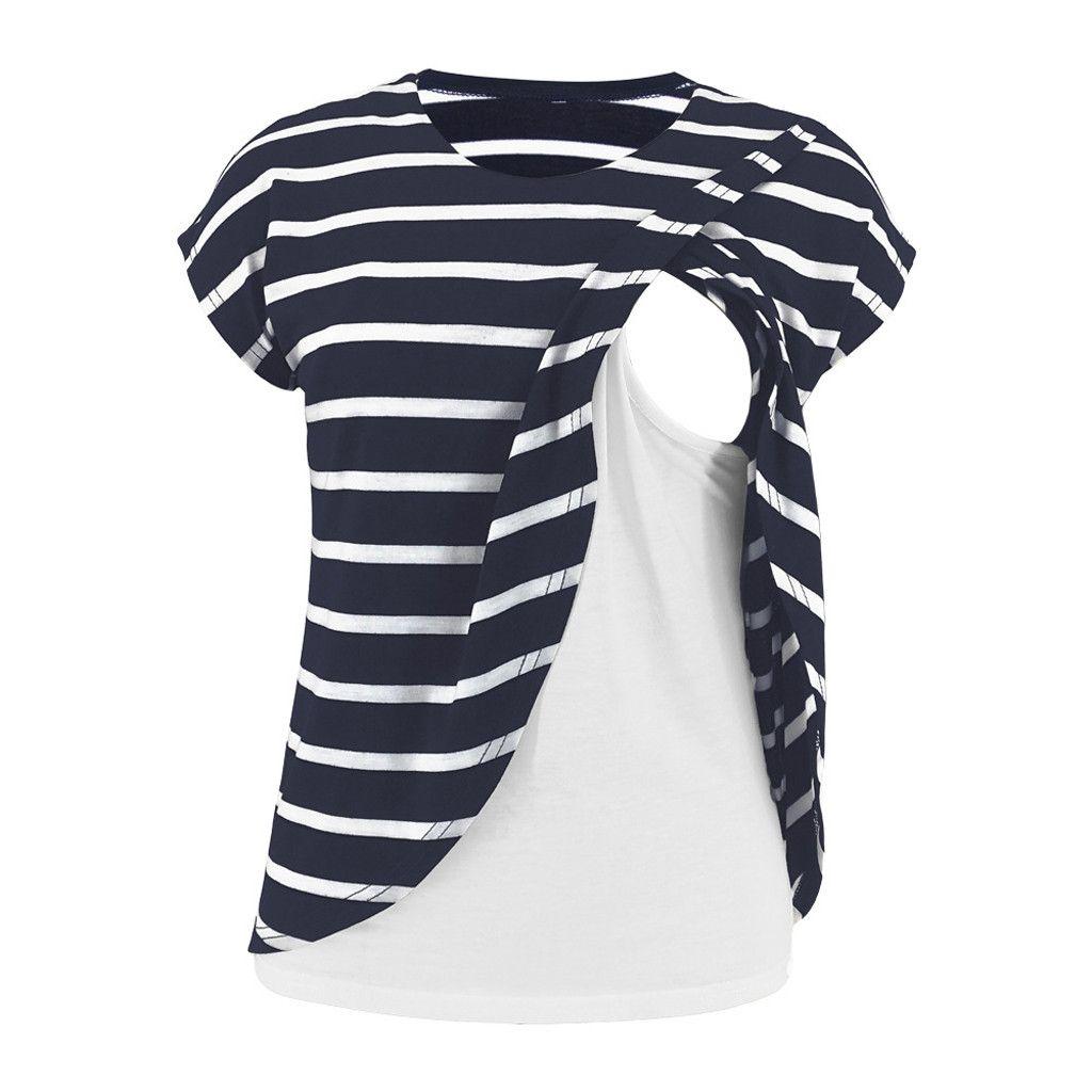 Umstandsmode Frauen Nusring Baby-Hemd-T-Shirts für schwangere Frauen O-Ausschnitt Kurzarm Printed Streifen Tops Schwangerschaft Sommer-T-Shirt