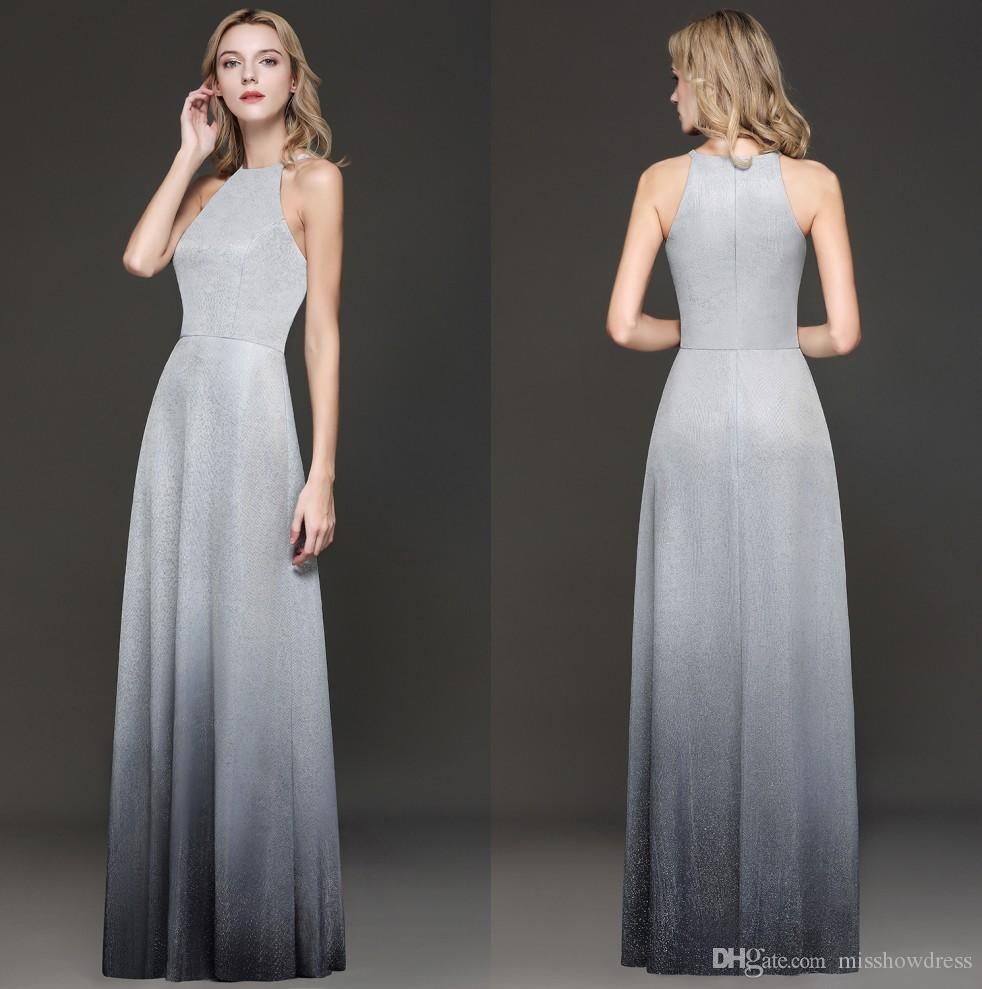 Elegant Halter Sequins Long Prom Dresses 2019 Silver Gray Gradient Color A Line Floor Length Formal Party Evening Gowns Real Image CPS1245