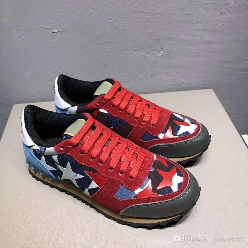 hococal Moda Deri Süet Stud hococal kamuflaj Sneakers Ayakkabı Erkekler Kadınlar Flats Lüks Tasarımcı Perçin Eğitmenler Günlük Ayakkabılar