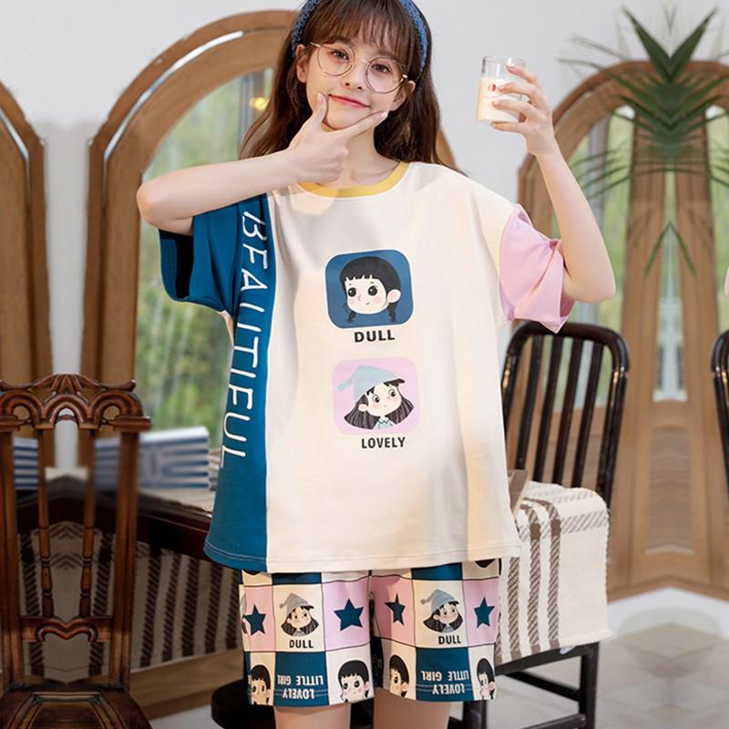 Impreso de verano del dulce de verano de dibujos animados de punto ocasional femenina de manga corta Pantalones cortos Inicio pijamas Set