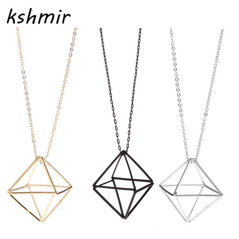 Accesorios de ropa para mujer collares tridimensional calidad geometría  triángulo hueco suéter collar femenino collar largo d5de98a25243