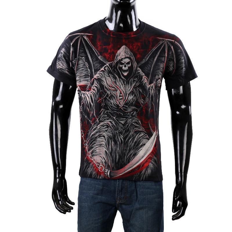 남성 패션 O-목 캐주얼 해골 T 셔츠 코튼 반팔 T -Shirt 타이드 크기 S -Xxxl 인쇄 차원