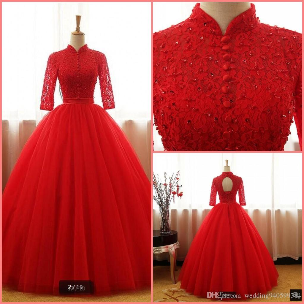 New designer red lace ball gown prom dresses hollow back sexy corset cheap prom dress beading sequined 3/4 sleeve prom gowns party dresses