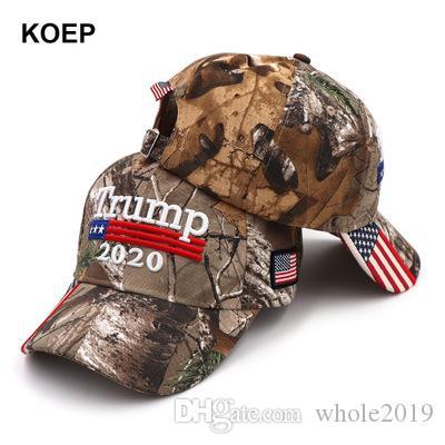 Новый Дональд Трамп Hat 2020 Оптовая Keep America Great Camo Мага Шляпы Дешевые Регулируемая бейсболке