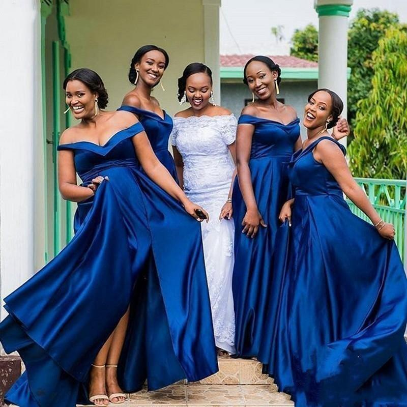 South African Summer Evening Guest Bridesmaid Dresses Royal Blue Mermaid  Off Shoulder Maid Of Honor Prom Plus Size Prom Dresses For Girls Prom  Dresses