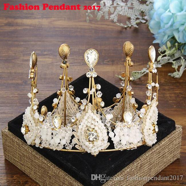 Новый золотой кристалл невесты тиара для прополки горный хрусталь Корона свадебные диадемы глава ювелирные изделия диадема повязки свадебный головной убор
