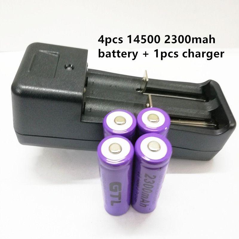 4pcs 14500 3.7V 2300mAh lítio + 1 pcs carregador de bateria para US lanterna levou