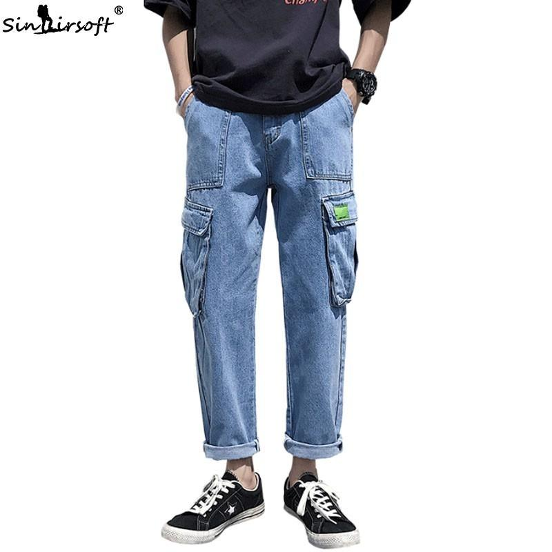 Men's Side Big Pockets Soild Denim Cargo Pants Loose Casual High Waist Ankle-Length Pants Male Summer Straight Trousers Fashion