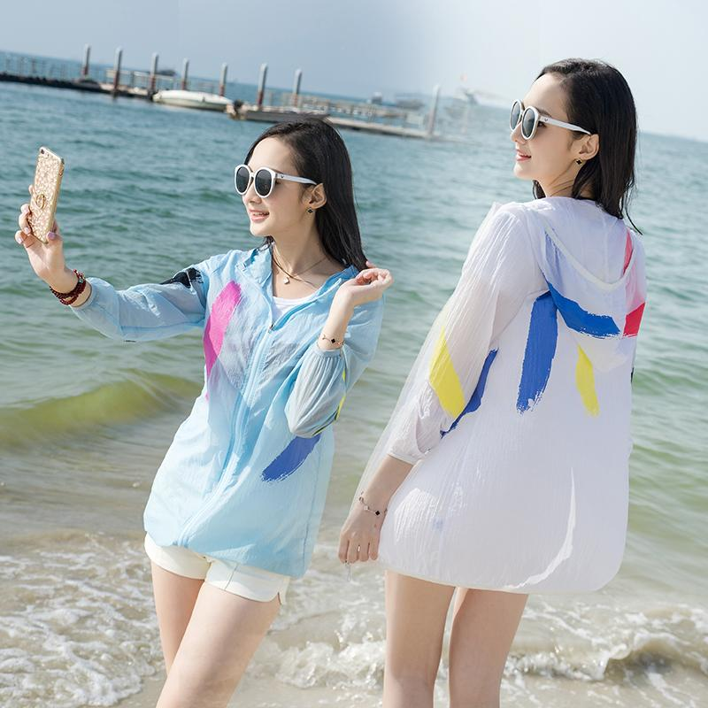 big size S-4XL Summer beach uv jacket big size Women Sun Protection Clothing Lady Perspective Loose sunscreen jacket