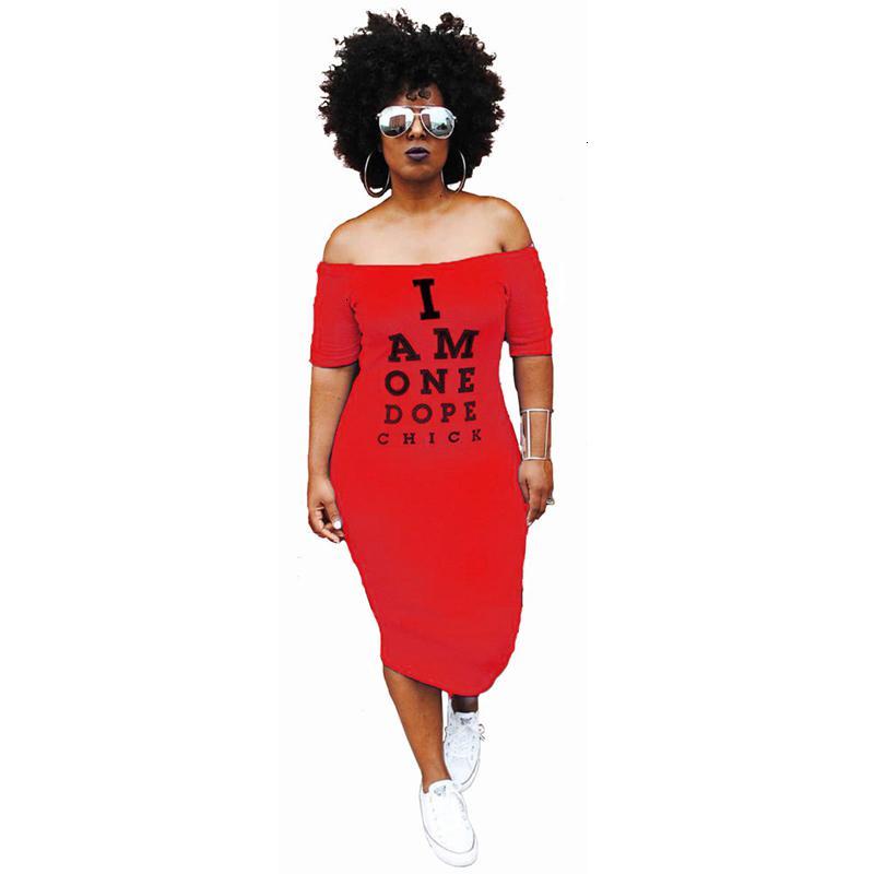 여자 의류 플러스 사이즈 드레스 플러스 사이즈 캐주얼 드레스 여성 콜드 어깨 편지 인쇄 패키지 엉덩이 슬래시 목 짧은 소매 드레스