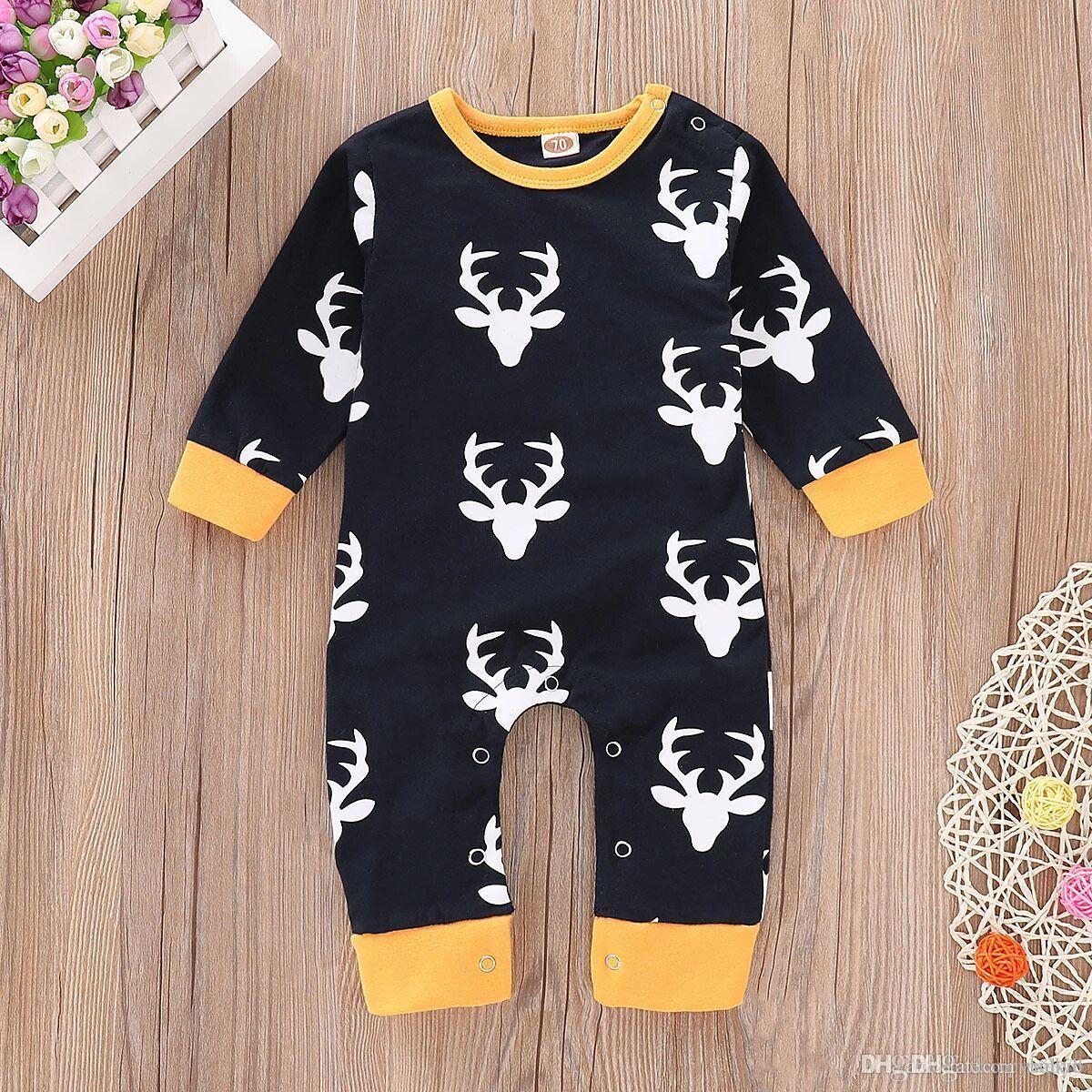 INS muchachos de los bebés mameluco Bodies principal de los ciervos larga impresa Slleeve Mono Trajes de Navidad