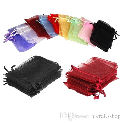 7x9cm الصغيرة الأورجانزا هدية حقيبة مجوهرات حقيبة التعبئة والتغليف حفل زفاف الإحسان كاندي هدية حقيبة الأورجانزا مجوهرات الحقيبة 15 الألوان