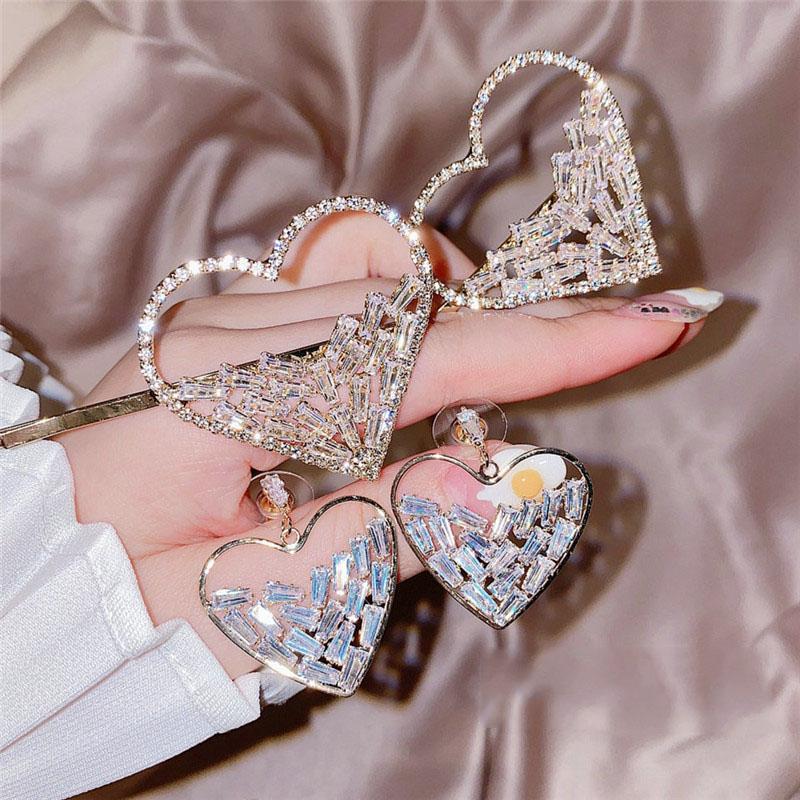 Клипы Блестящая дизайн Шпилька Девушки Звездное Star Diamond Любовь Кристалл Серьги Серебряные иглы серьги с волос