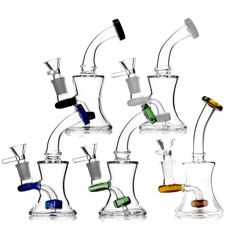 6.5 pulgadas Hookah Bongs Plataformas de aceite con tazones de vidrio gratis 14mm femenino femenino con vaso de agua Tubos de agua