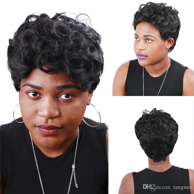 Mulheres curto Natural Curly perucas de cabelo Africano Preto onda do corpo sintético Cosplay Perucas Moda resistente ao calor Afro Fluffy peruca Headware